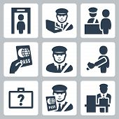 stock photo of tariff  - Customs service vector icons set over white - JPG