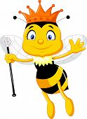picture of stick-bugs  - Vector illustration of queen bee cartoon isolated on white - JPG
