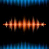 stock photo of waveform  - Blue and orange shiny sound waveform background with sharp peaks - JPG