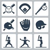 picture of baseball bat  - Baseball related vector icons set over white - JPG