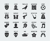 stock photo of comedy  - Film genres vector icon set on gray background - JPG