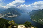 foto of salvatore  - view of Lugano lake from Monte San Salvatore Switzerland