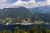 picture of salvatore  - view of lugano lake and mountains from Monte San Salvatore Switzerland