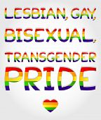 "foto of bisexual  - ""Lesbian gay bisexual transgender pride"" phrase stylized with rainbow and one heart - JPG"