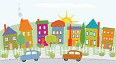 picture of sunshine  - Stylized neighborhood houses on a hill - JPG