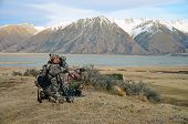 pic of hunter  - Hunters looking for Himalayan tahr in the Southern Alps of New Zealand