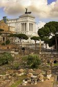 pic of emanuele  - view of the monument to Vittorio Emanuele from the ruins of famous ancient Roman Forum, Rome, Italy