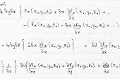 image of divergent  - Hand written study notes for math with equations for divergence of vector fields - JPG