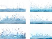 Постер, плакат: Mixed Form Of Splashing Clear And Clean Water On White Background Use For Refreshment And Cool Back