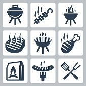 foto of brazier  - Grill and barbeque related vector icons set - JPG