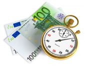 stock photo of money stack  - Golden stopwatch with euro banknotes isolated over white - JPG