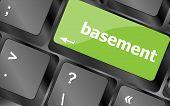 stock photo of basement  - basement message on enter key of keyboard - JPG