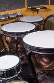 stock photo of timpani  - Several kettle drums shot in a recording stucio - JPG