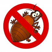 picture of parasite  - Anti parasite sign with a funny cartoon bedbug - JPG