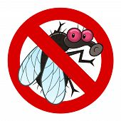 foto of gadfly  - Anti pest sign with a funny cartoon fly - JPG
