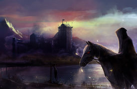 foto of horse-riders  - Fantasy black horse rider with background castle view illustration - JPG
