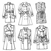 stock photo of trench coat  - Outline Fashionable female coat set on Sketchy style - JPG