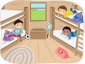 picture of bunk-bed  - Illustration of Little Boys Sharing a Cabin in a Camp - JPG
