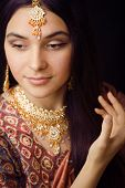 picture of sari  - beauty sweet real indian girl in sari smiling - JPG