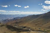 pic of manali-leh road  - Aerial View To Desert Mountains With River And Lake - JPG