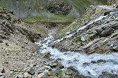 picture of manali-leh road  - Water Flow Over Mountain Road in Himalaya - JPG