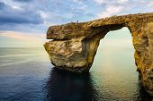 picture of gozo  - Azure Window natural arch on Gozo island Malta at blue hour with vibrant colours - JPG