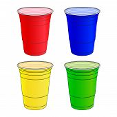 stock photo of bachelor party  - An Illustration of Party Cups In Different Colours - JPG