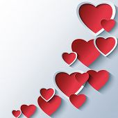 pic of wallpaper  - Trendy abstract Valentines day background grey with 3d stylized red hearts - JPG