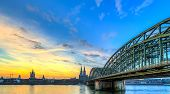pic of koln  - Cityscape of Cologne from the Rhine river at sunset - JPG