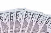 picture of twenty dollar bill  - Close up of dollar bills - JPG