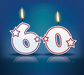 image of candle flame  - Birthday candle number 60 with flame  - JPG