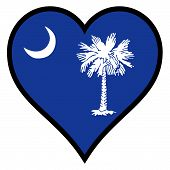 foto of south american flag  - South Carolina state flag within a heart all over a white background - JPG