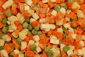stock photo of frozen food  - Frozen mixed vegetables with ice  - JPG