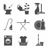 image of sanitation  - set of black and white silhouette icons on house work theme - JPG