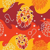 image of leo  - Vector seamless pattern with Leo astrology symbols - JPG