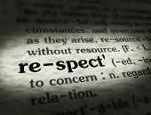 stock photo of respect  - Dictionary definition of the word RESPECT on paper - JPG
