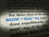 image of summary  - Dictionary definition of the word SUMMARY on paper - JPG