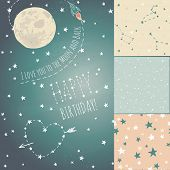 picture of moon stars  - A set of Seamless constellations backgrounds - JPG