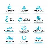 picture of big-foot  - First big set of spa hot yoga zen massage logo elements vector illustration - JPG