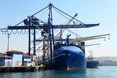 stock photo of harem  - Large container ship in a dock at port Haydarpasa Istanbul Turkey - JPG