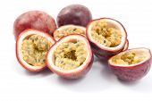 picture of passion fruit  - Passion Fruit cut in half over a white background - JPG