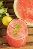 picture of watermelon slices  - Watermelon Juice garnished with watermelon slices - JPG