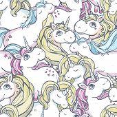 picture of unicorn  - Seamless vector pattern with cute magic unicorns - JPG