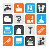stock photo of personal care  - Silhouette Bathroom and Personal Care icons - JPG