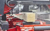 pic of sawing  - Sawing boards from logs with modern sawmill - JPG