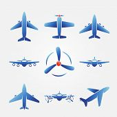 picture of aeroplane symbol  - Plane blue icons  - JPG