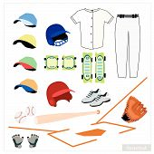 stock photo of ball cap  - Illustration Collection of Baseball Accessory and Equipment Bat Ball Knee Protectors Shoes Glove Cap and Uniform - JPG