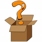picture of thinking outside box  - Cartoon question mark thinking outside of the box - JPG