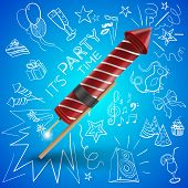 foto of caricatures  - fireworks with drawing party objects - JPG