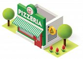 pic of isometric  - Vector isometric pizzeria building icon - JPG